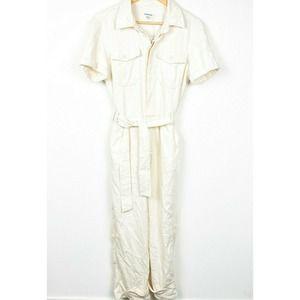 Good American fit for success beige cream jumpsuit